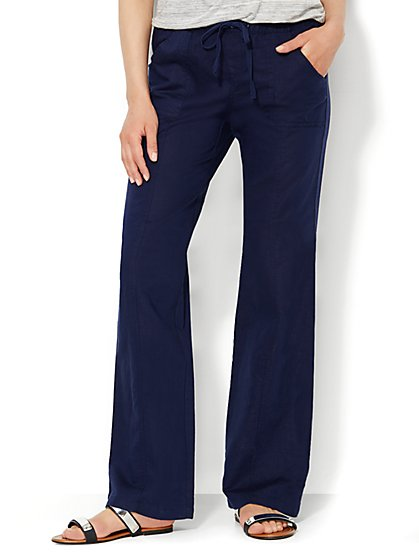 Love, NY&C Collection - Linen Straight-Leg Pant - Average - New York & Company