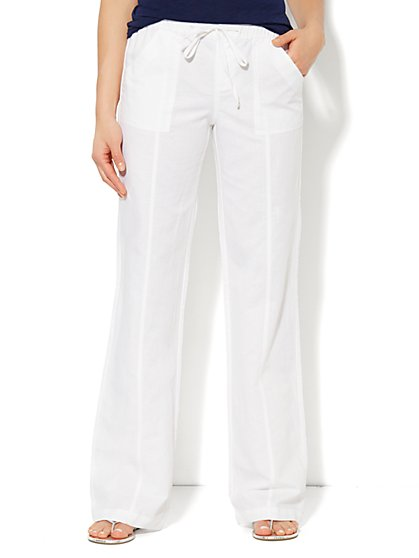 Love, NY&C Collection - Linen Straight-Leg Pant - Petite