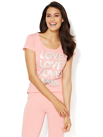 Love, NY&C Collection - Love Love Love Mom Logo Tee  - New York & Company