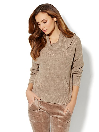 Love, NY&C Collection - Lurex Cowl-Neck Sweater - New York & Company