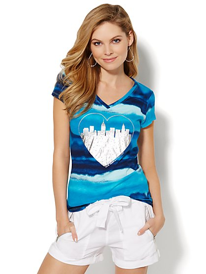 Love, NY&C Collection - Metallic Heart Logo Tee  - New York & Company