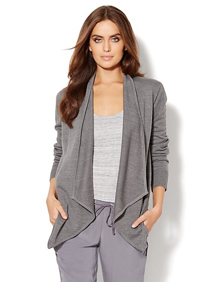 Love, NY&C Collection - Mix-Knit Flyaway Cardigan - New York & Company