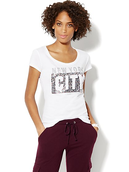 Love, NY&C Collection - Multicolored Sequin Logo Tee  - New York & Company