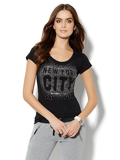 Love, NY&C Collection - NYC Sparkle Logo Tee  - New York & Company