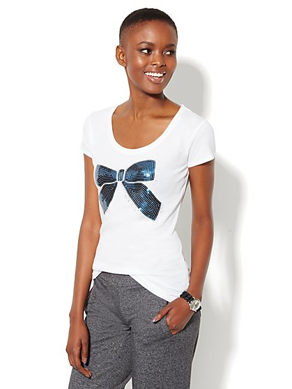 Love, NY&C Collection - Navy Sequin Bow Logo Tee  - New York & Company