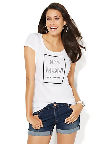 Love, NY&C Collection - Number 1 Mom Logo Tee  - New York & Company