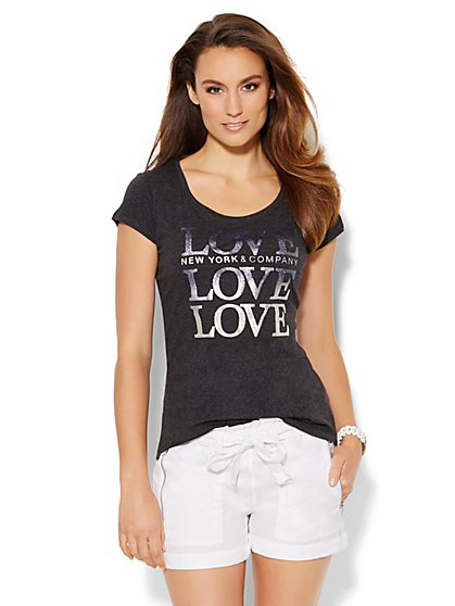 Love, NY&C Collection - Ombré Glitter Logo Tee  - New York & Company