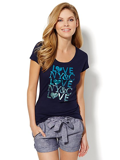 Love, NY&C Collection - Ombré Sequin Cotton Tee  - New York & Company