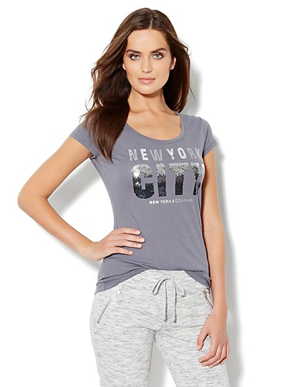 Love, NY&C Collection - Ombre Sequin Logo Tee - New York & Company