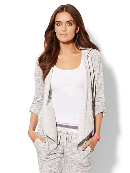 Love, NY&C Collection - Open-Front Hooded Cardigan - Heathered - New York & Company