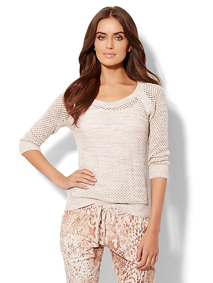 Love, NY&C Collection - Open-Knit Cotton Sweater  - New York & Company