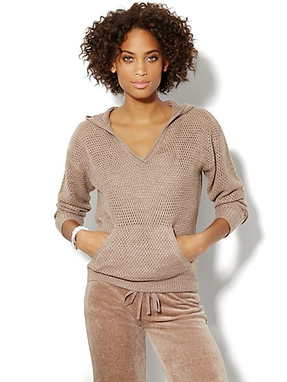 Love, NY&C Collection - Open-Knit Hooded Sweater  - New York & Company