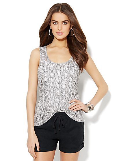 Love, NY&C Collection - Open-Knit Tank Top  - New York & Company