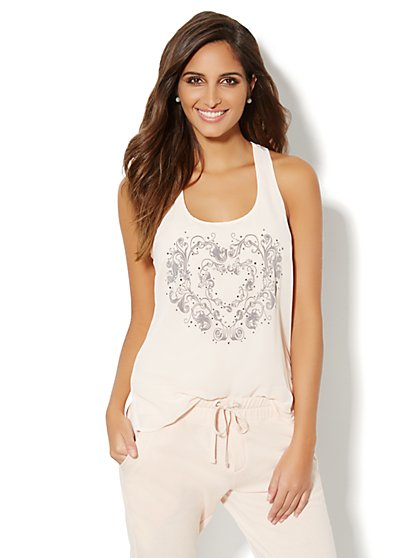 Love, NY&C Collection - Rhinestone & Flocked Heart Tank Top  - New York & Company