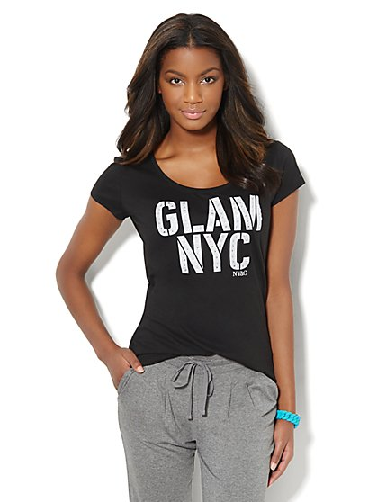 Love, NY&C Collection - Rhinestone Glam NYC Logo Tee  - New York & Company