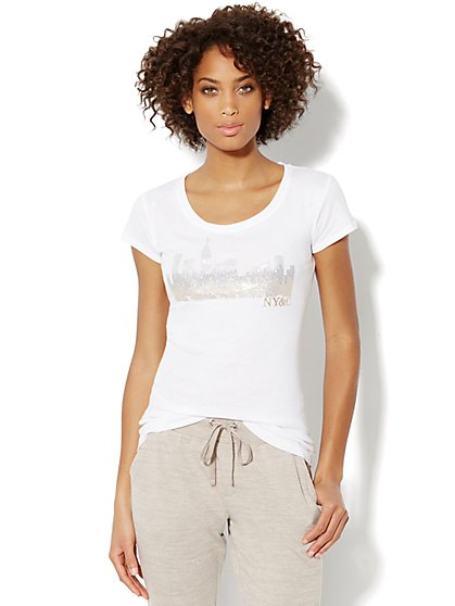 Love, NY&C Collection - Rhinestone Skyline Logo Tee  - New York & Company