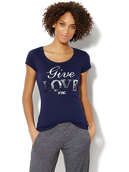 Love, NY&C Collection - Sequin Give Love Tee - New York & Company