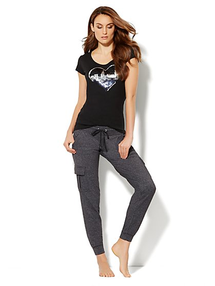 Love, NY&C Collection - Sequin Skyline Logo Tee - New York & Company