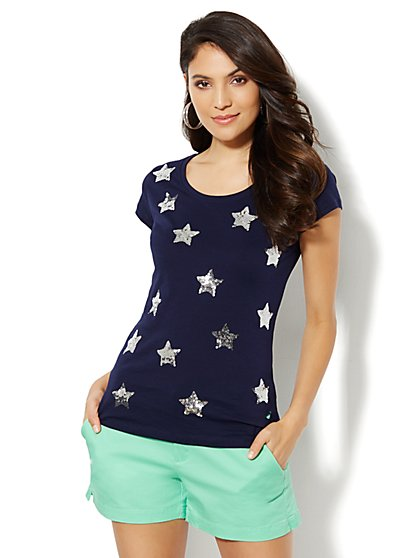 Love, NY&C Collection - Sequin Stars Tee  - New York & Company