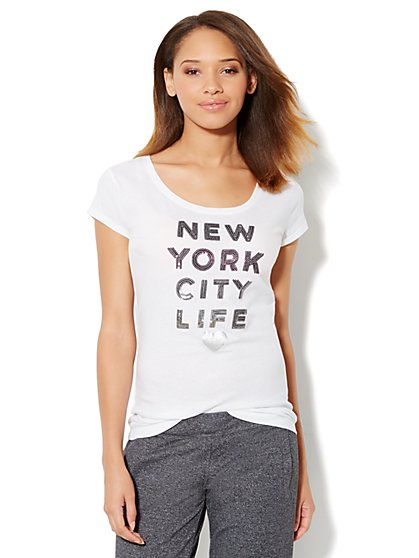Love, NY&C Collection - Sequin Tee Shirt - New York & Company