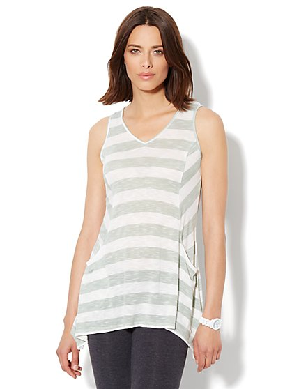 Love, NY&C Collection - Sharkbite Striped Tunic - New York & Company