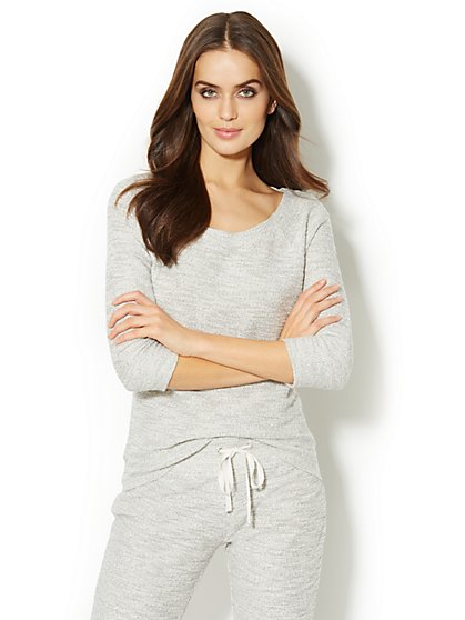 Love, NY&C Collection - Shimmering Zipper-Accent Sweatshirt - New York & Company