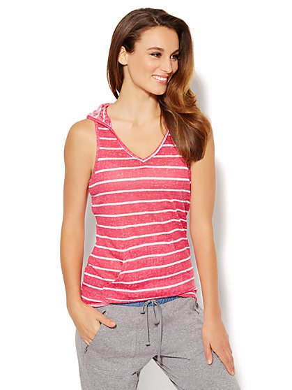 Love, NY&C Collection - Sleeveless Hoodie - Stripe  - New York & Company