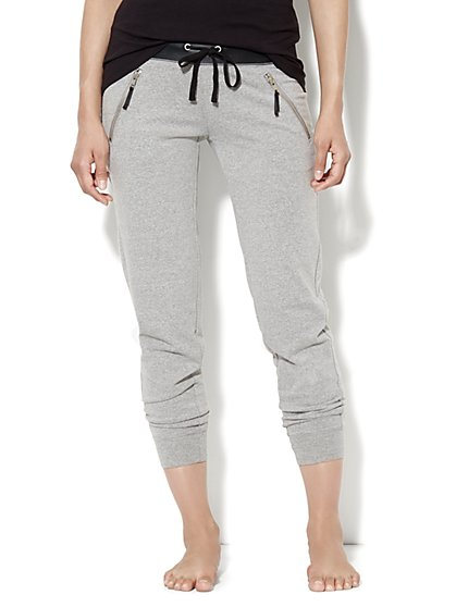 Love, NY&C Collection - Slim Slouch Crop Pant – Faux-Leather Trim