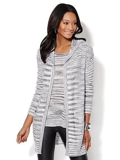 Love, NY&C Collection - Space-Dyed Hooded Cardigan - Grey - New York & Company