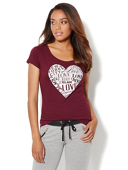 Love, NY&C Collection - Sparkle Heart Logo Tee  - New York & Company