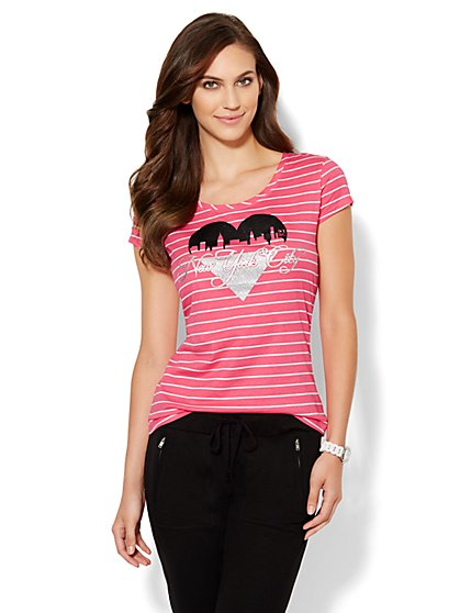 Love, NY&C Collection - Sparkle Heart Tee - Stripe  - New York & Company