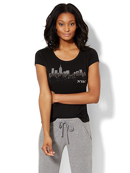 Love, NY&C Collection - Sparkling Skyline Logo Tee  - New York & Company