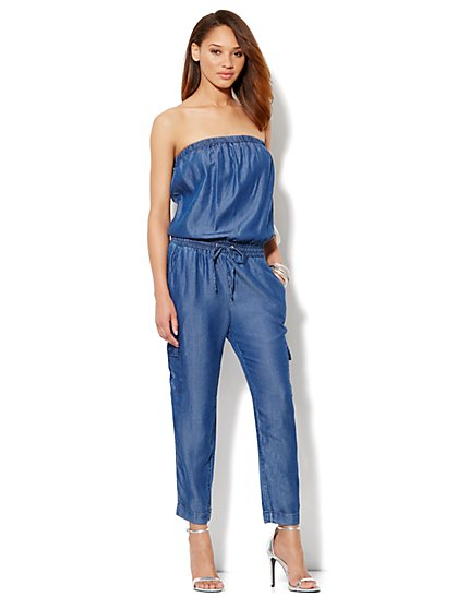 Love, NY&C Collection – Strapless Cargo Jumpsuit   - New York & Company