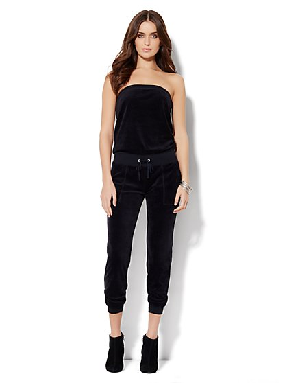 Love, NY&C Collection - Strapless Velour Jumpsuit  - New York & Company