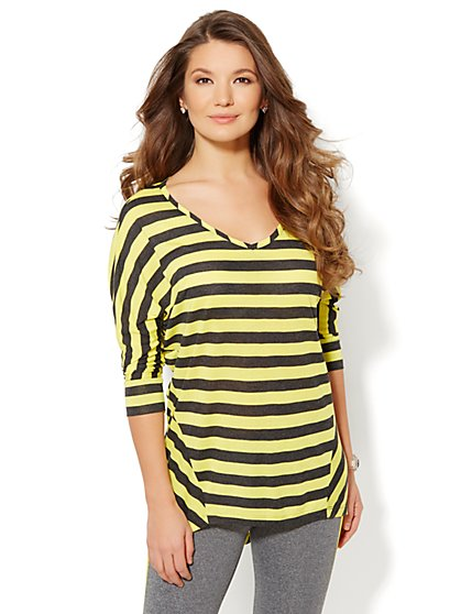 Love NY&C Collection - Striped Dolman-Sleeve Tunic