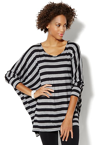 Love, NY&C Collection - Striped Dolman Tunic Top - New York & Company