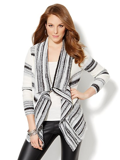 Love, NY&C Collection - Striped Open-Front Cardigan  - New York & Company