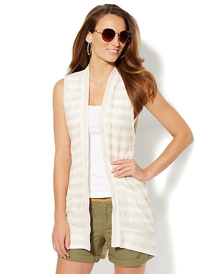 Love, NY&C Collection - Striped Sleeveless Duster  - New York & Company