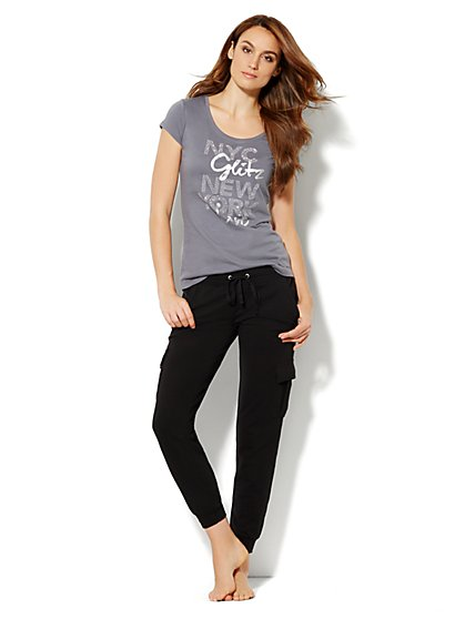 Love, NY&C Collection - Studded Logo Tee Shirt - New York & Company