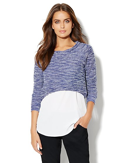 Love, NY&C Collection - Textured Crop Sweater - New York & Company