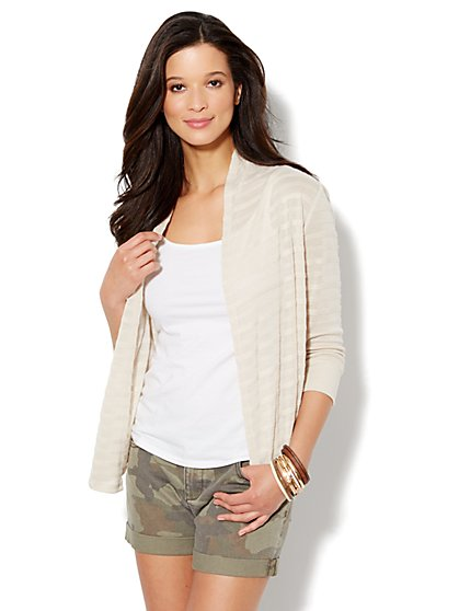 Love, NY&C Collection - Textured-Stripe Flyaway Cardigan - New York & Company