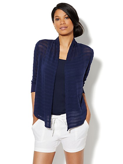 Love, NY&C Collection - Textured-Stripe Flyaway Cardigan
