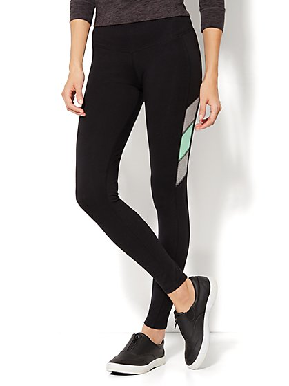 Love, NY&C Collection - The Yoga Legging - Colorblock Accent - Black - New York & Company