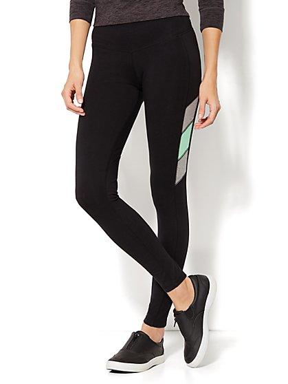 Love, NY&C Collection - The Yoga Legging - Colorblock Accent - Black - New York & Company