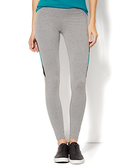 Love, NY&C Collection - The Yoga Legging - Colorblock Accent - Grey - New York & Company