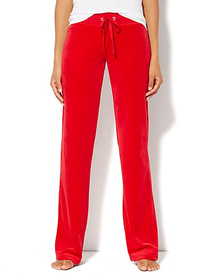 Love, NY&C Collection - Velour Straight-Leg Pant - Petite - Red Hot - New York & Company