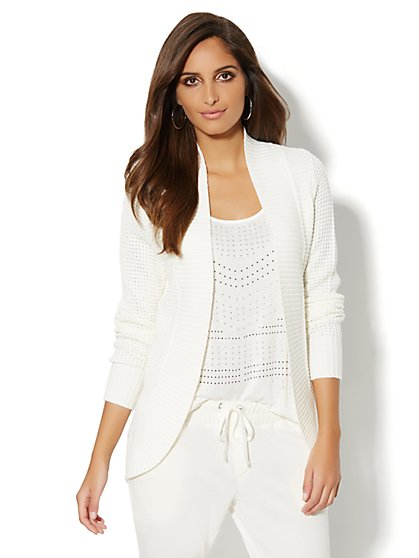 Love, NY&C Collection - Waffle-Knit Cocoon Cardigan - New York & Company