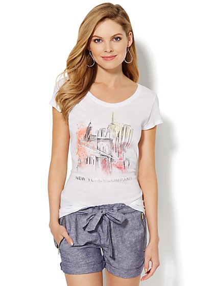 Love, NY&C Collection -  Watercolor Skyline Tee  - New York & Company
