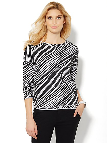 Love, NY&C Collection - Zebra-Print Sweatshirt