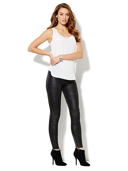 Love, NYC Collection - Faux-Leather Moto Legging - New York & Company